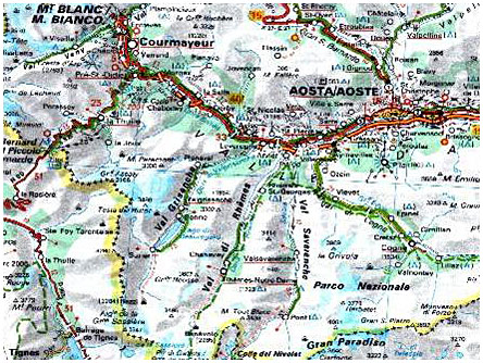 Carte Val Daoste Italie.Le Val D Aoste